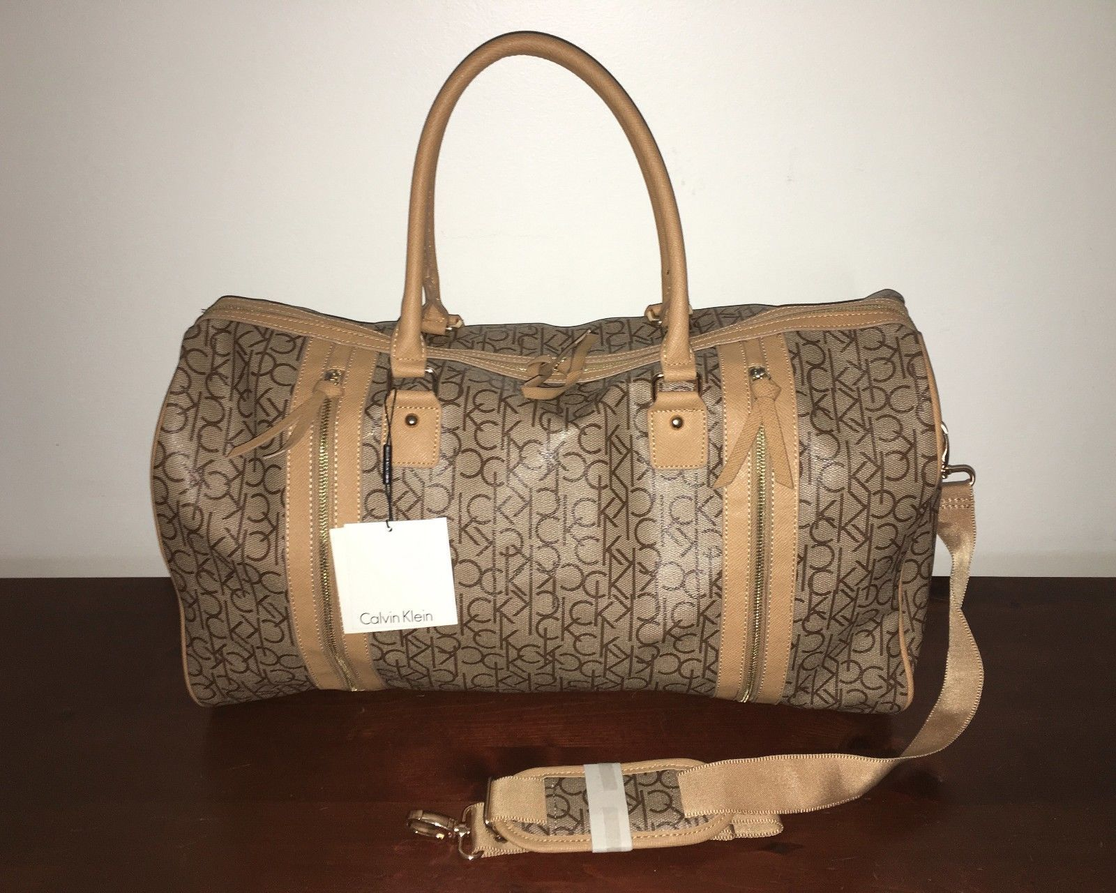 1d3aa099a8 Calvin Klein CK Monogram Logo Yarmouth Tan/Brown Duffle Bag Luggage NWT  $240.00