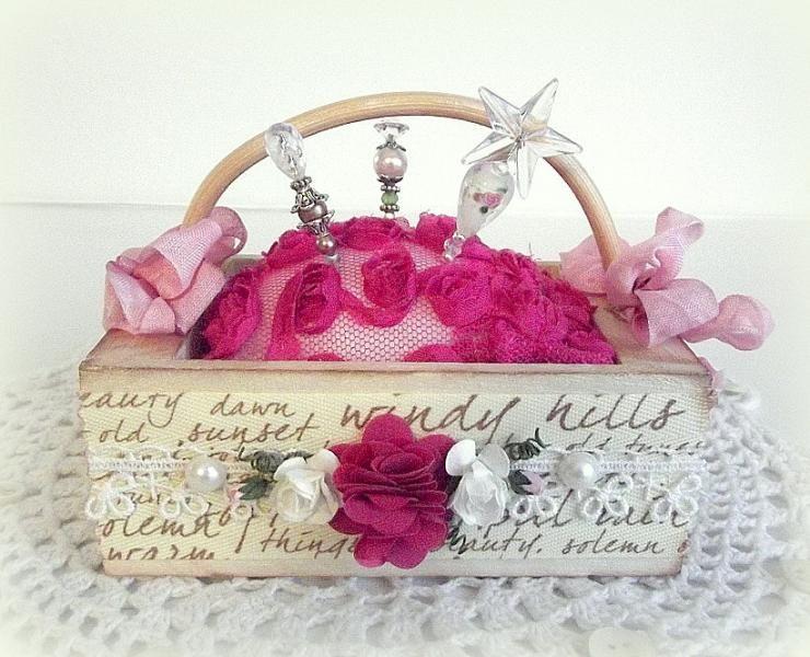 Hot Pink Pin Cushion Basket