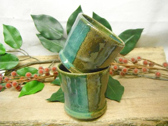 Votive Candle Holder - Double Shot Glass - Votive Candle Holder - Espresso Cup - Ocean Greens- ceramics - pottery - stoneware
