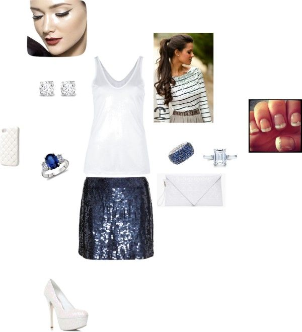 """sequined navy blue skirt and white"" by anabellemchavez on Polyvore"