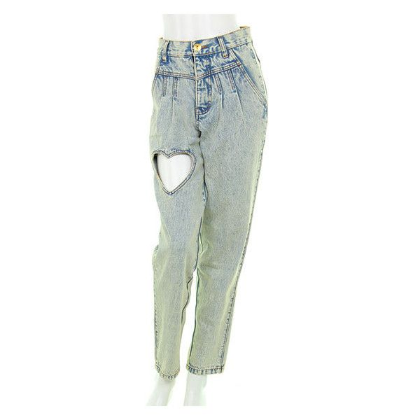 F&V:HEART CUT OUT DENIM PANTS ❤ liked on Polyvore featuring pants and jeans