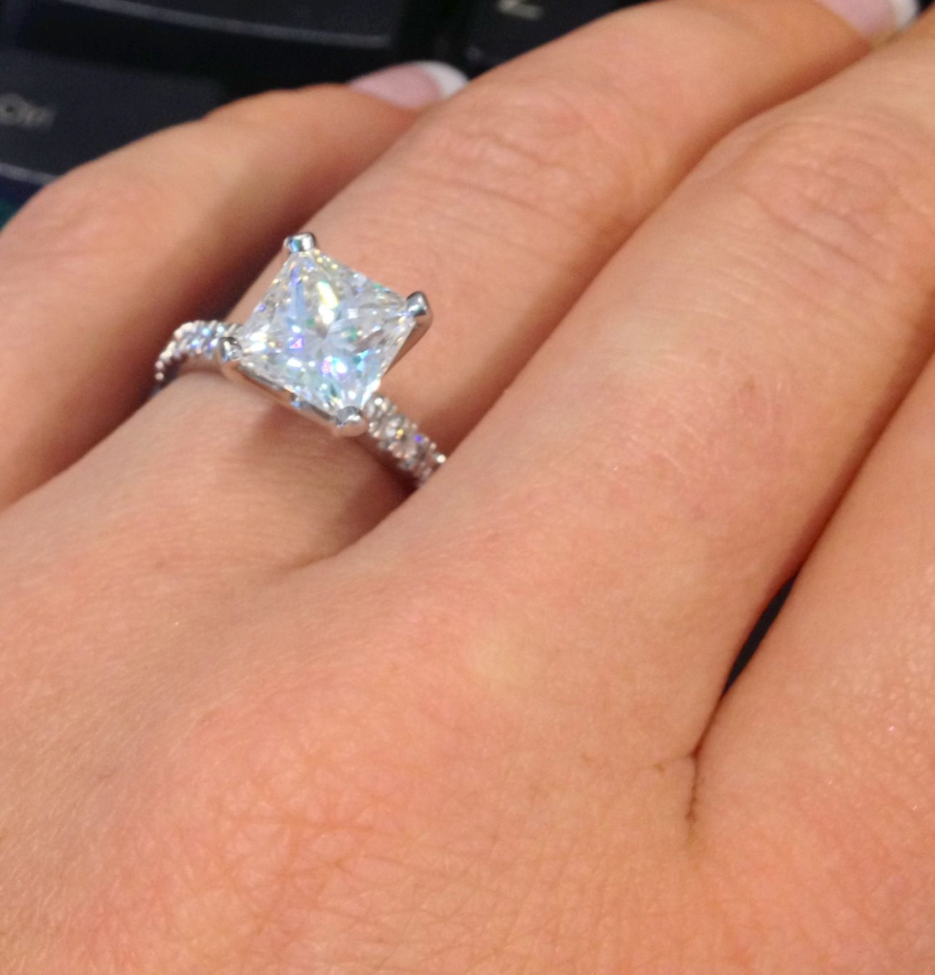 Princess cut engagement ring Sparkly pave style with a pretty