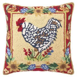 """Showcasing a hand-hooked rooster highlighted by a floral border, this wool and cotton pillow adds a touch of country charm to your sofa or breakfast nook.  Product: PillowConstruction Material: Wool and cotton cover and polyester fillColor: MultiFeatures:  Insert includedHand-hooked cover Dimensions: 18"""" x 18""""Cleaning and Care: Spot clean"""