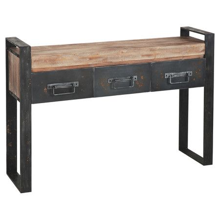 Perfect as a catch-all in your entryway or holding curios in the den, this handsome metal console table showcases a rustic wood top and 3 convenient drawers....