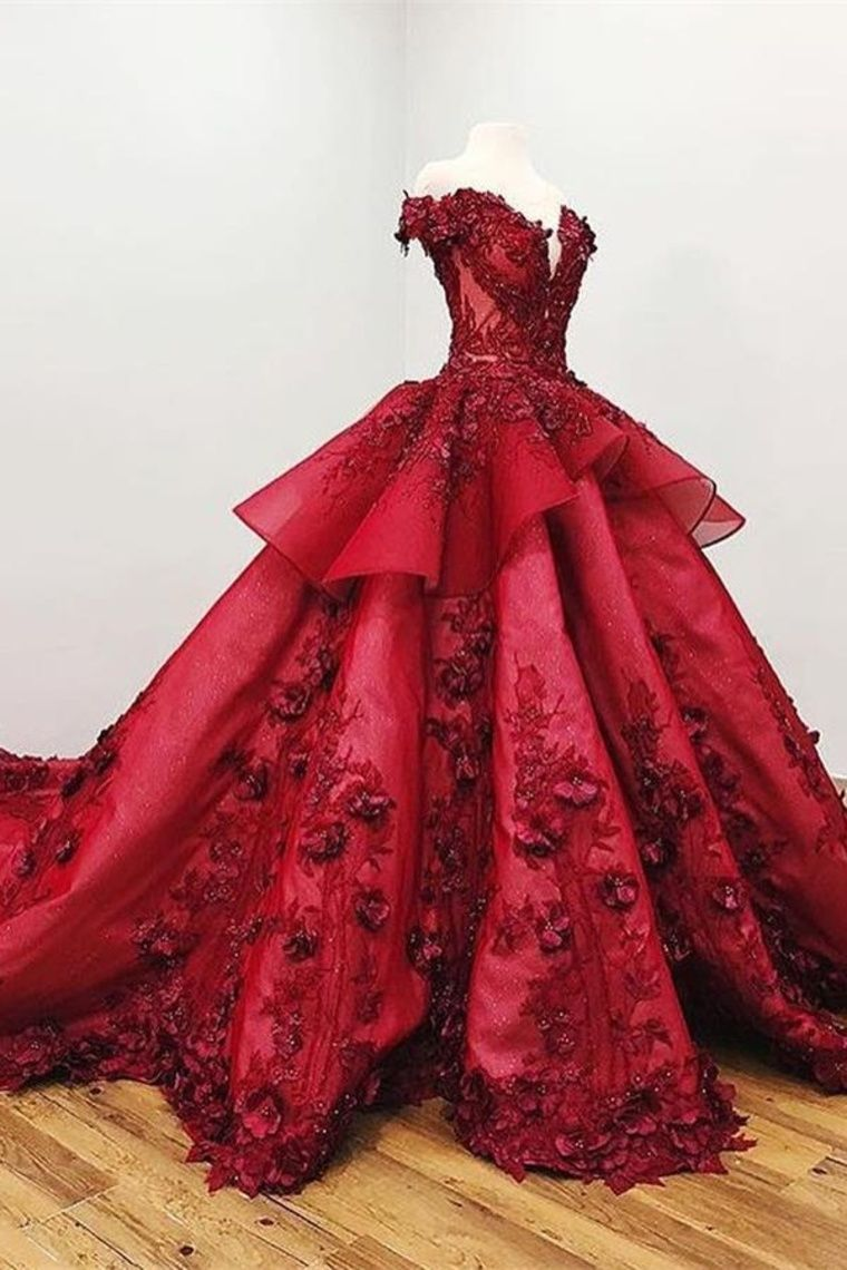 73dab3097e5 Ball Gown Burgundy Lace Beading Princess Prom Dresses With Appliques   burgundy  princesspromdress  promgown  ballgown  fancypromdress  appliques