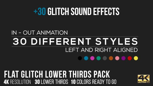 Flat Glitch Lower Thirds Glitch Sound Effects Glitch - Purchase after effects templates