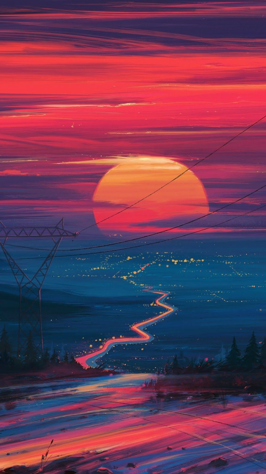 Sunset Wallpaper Iphone Android Background Followme Sunset Wallpaper Aesthetic Iphone Wallpaper Trippy Wallpaper