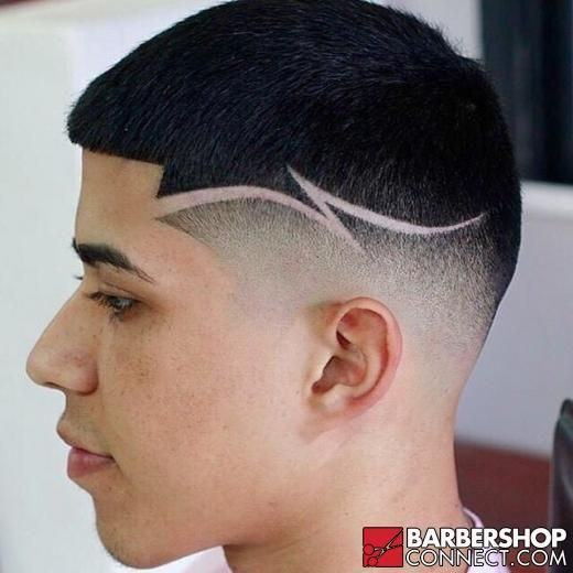 fade with line part cuts hair