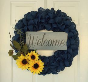 Photo of Items similar to Rustic blue summer burlap wreath with a yellow sunflowers and greenery and a 'welcome' sign on Etsy