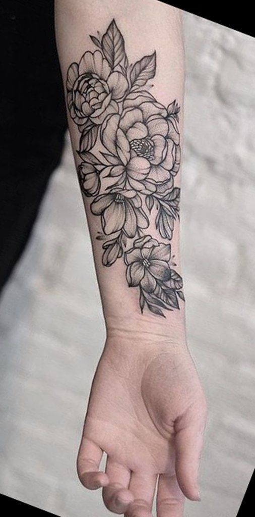 Flower Design On The Wrist Henna Tattoo: Noir Fleur Poignet Tatouages - MyBodiArt.com