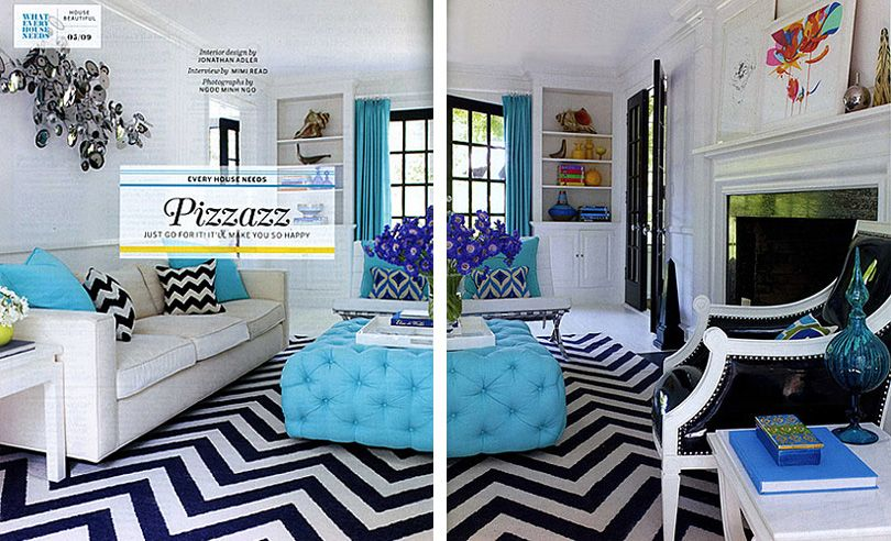Liz lange jonathan adler designed living room white turquoise black yellow cute love the cokir con bo