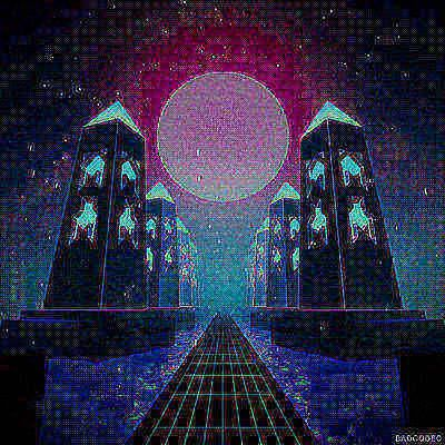 Hot GIF 80s loop design 3d trippy retro graphics neon digital landscape glow mograph tunnel temple