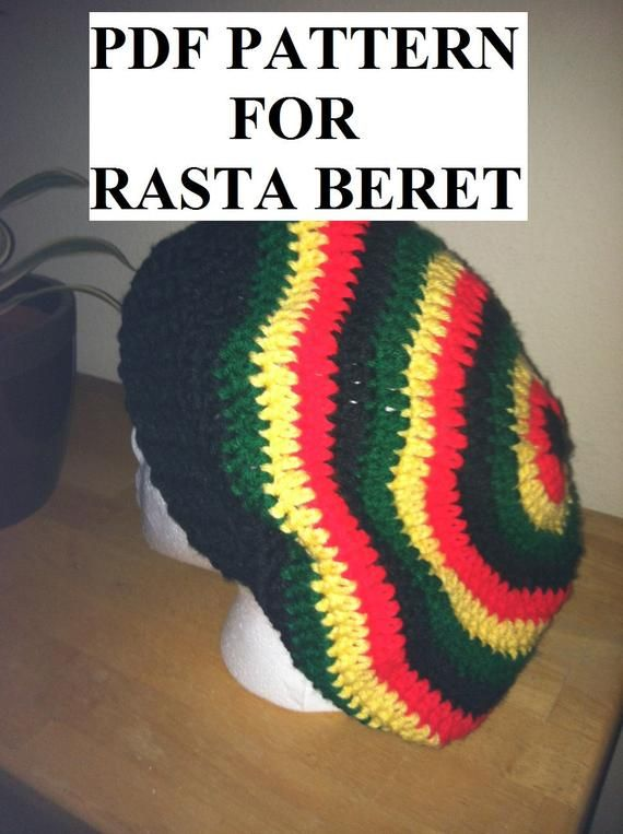 852c4c4bab4 PDF PATTERN - For rasta or solid slouchy beret hat beanie - stripes ...