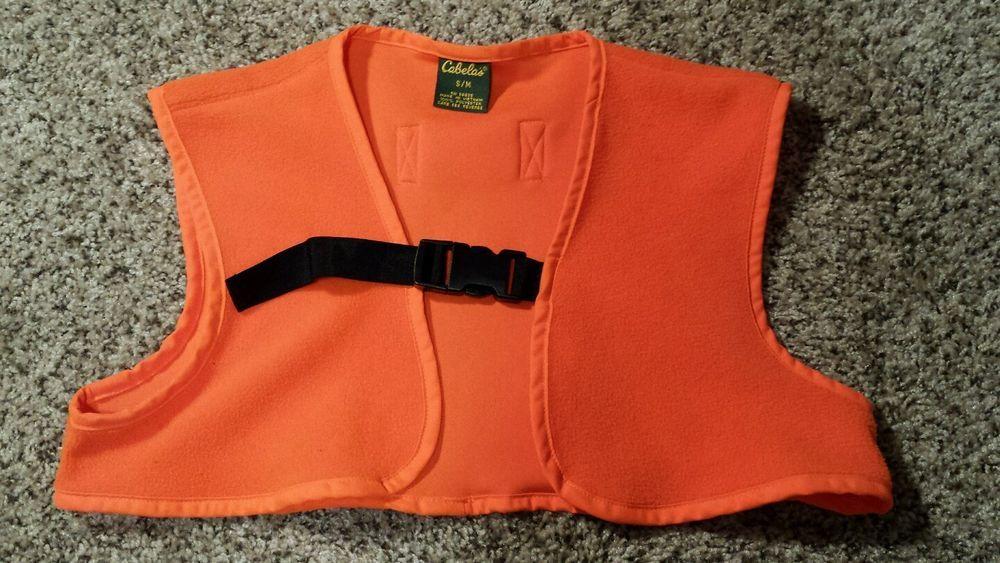 f43240242bd11 Cabela's Blaze Orange Fleece Hunting Vest Three Quarter Youth Small Medium  EUC #Cabelas #Hunting #BlazeOrange #Fleece #Vest #Youth