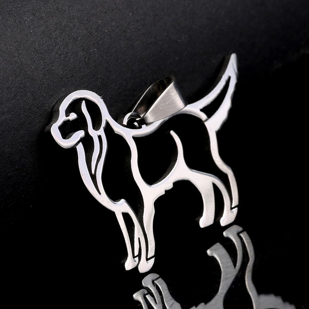 NEW Stainless Steel Golden Retriever Outline Pet Dog Charm Pendant Necklace #Pendant