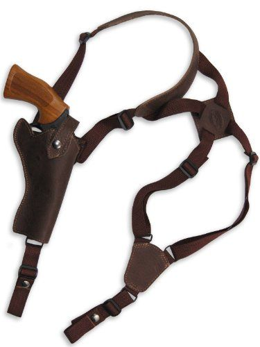 Barsony Brown Leather Cross Harness Vertical Shoulder Holster for 4