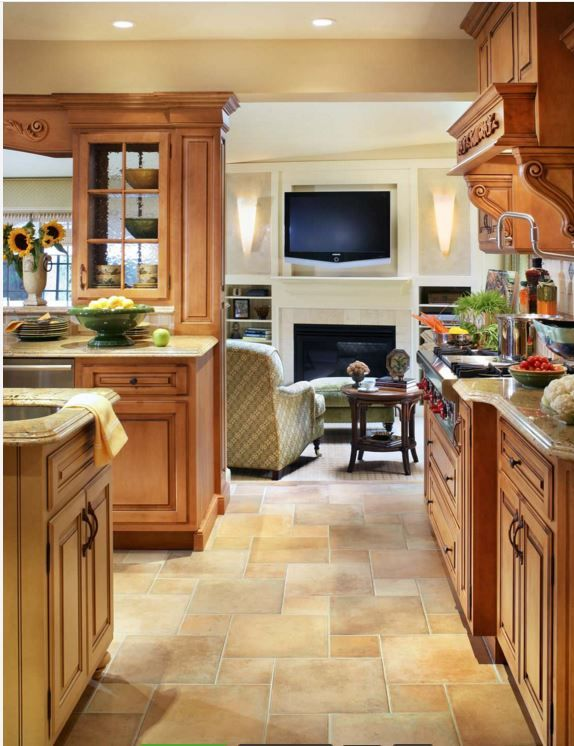 Kitchen floor pattern? | Tile that goes with honey oak | Pinterest ...