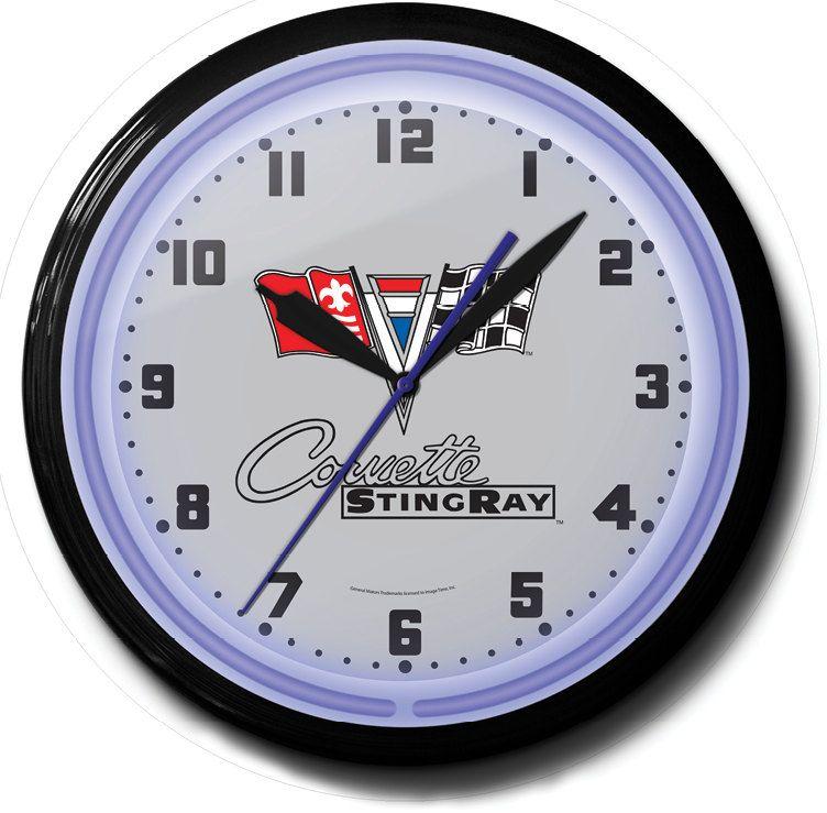 Chevrolet Corvette Stingray Gm 20 Inch Neon Wall Clock Etsy How To Make Wall Clock Clock Wall Clock