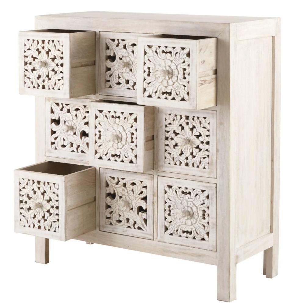 Solid Mango Wood 9 Drawer Storage Cabinet Kerala Maisons Du Monde In 2020 Solid Mango Wood Mango Wood Storage Drawers