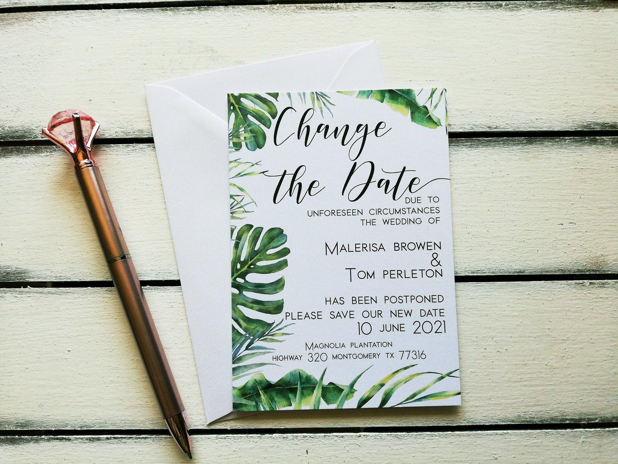 Change the date postponed card white envelope wedding
