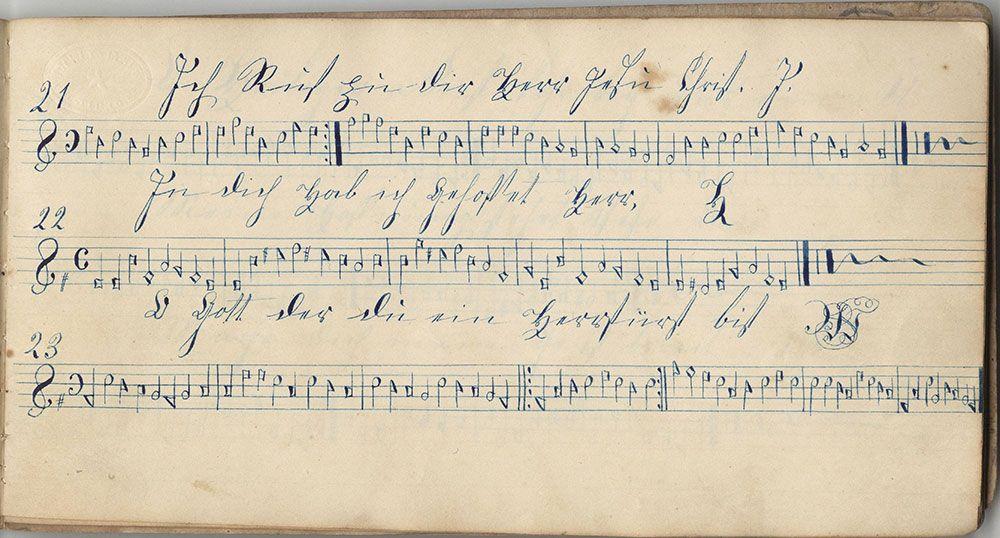 Dieses Harmonische Büchlein Gehöret Barbara Meyerin Sing Schuler zu der Octagon Schule Geschrieben den 13ten Maÿ 1845