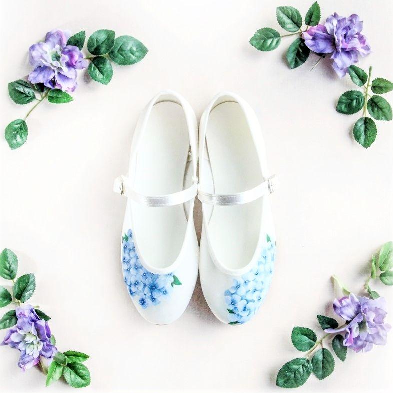 Blue hydrangea handpainted flat flower girl wedding shoes