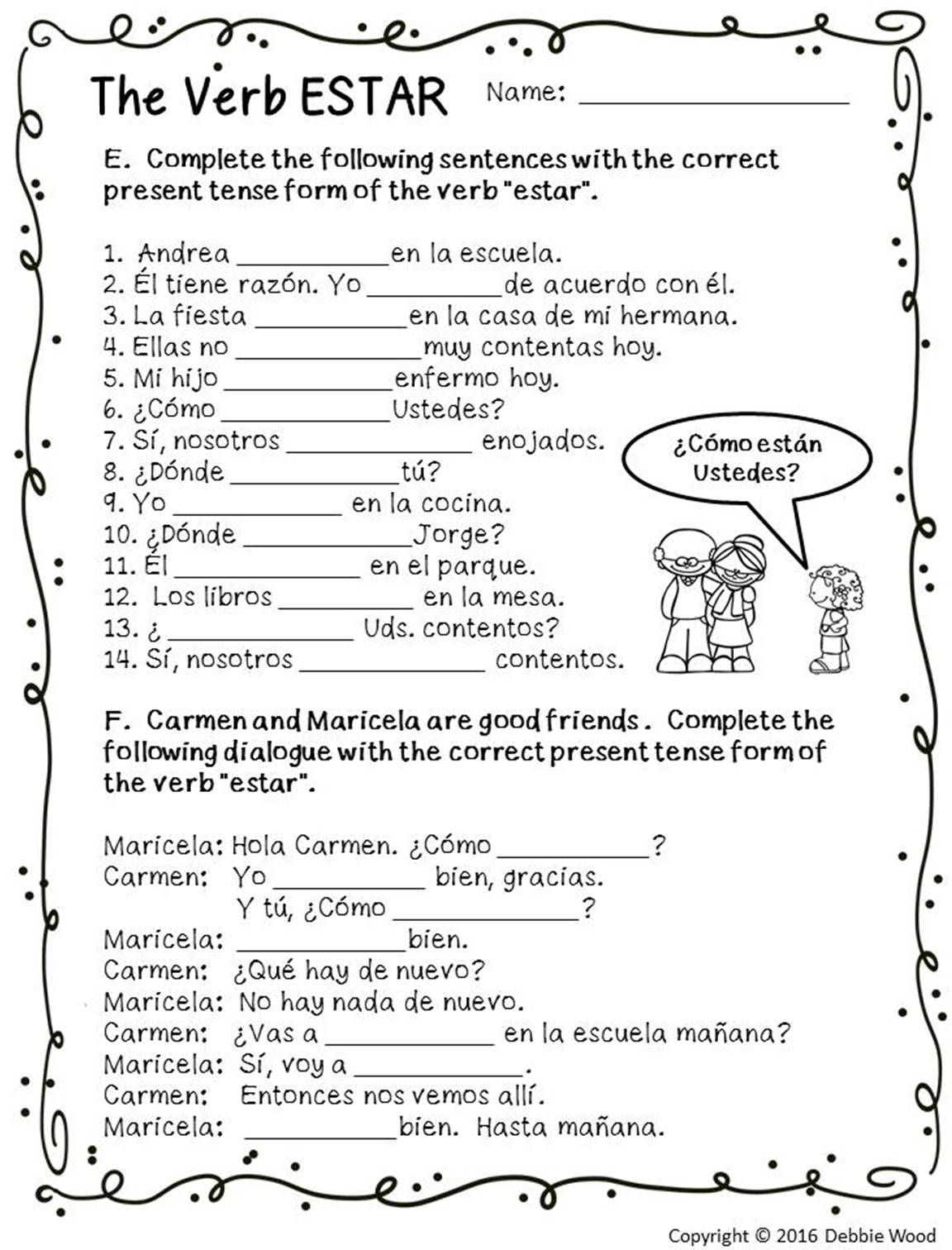 Worksheets 4th Grade Spanish Worksheets spanish verb estar posters and worksheets classroom classroom