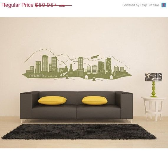 Denver, Colorado Skyline Wall Decal, Sticker, Mural, Vinyl