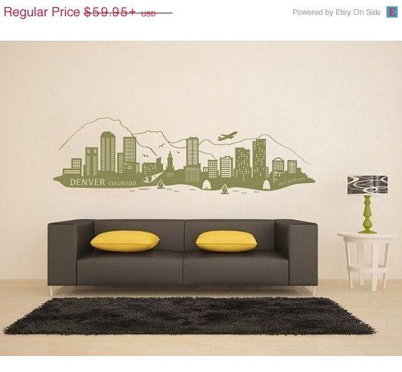 Denver, Colorado Skyline Wall Decal, Sticker, Mural, Vinyl