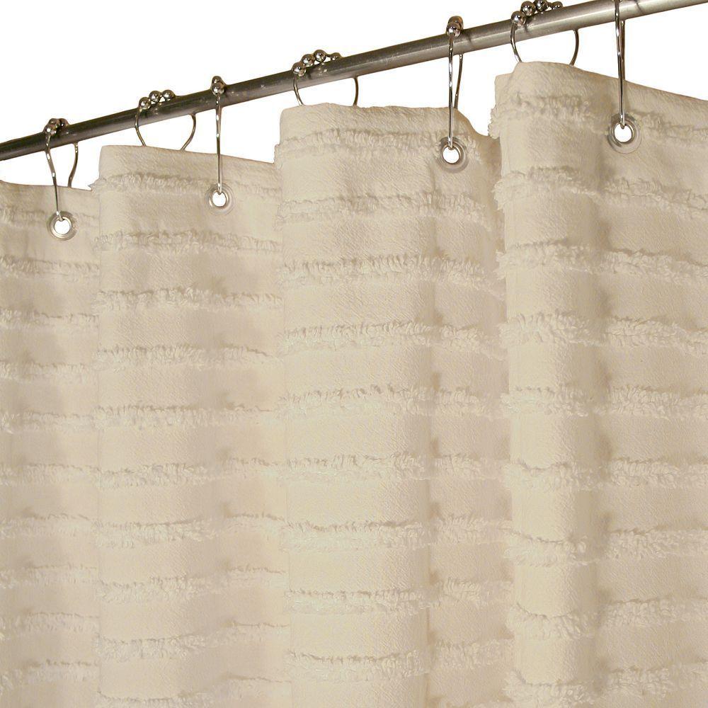 Park B Smith Retro Striped Fabric Shower Curtain