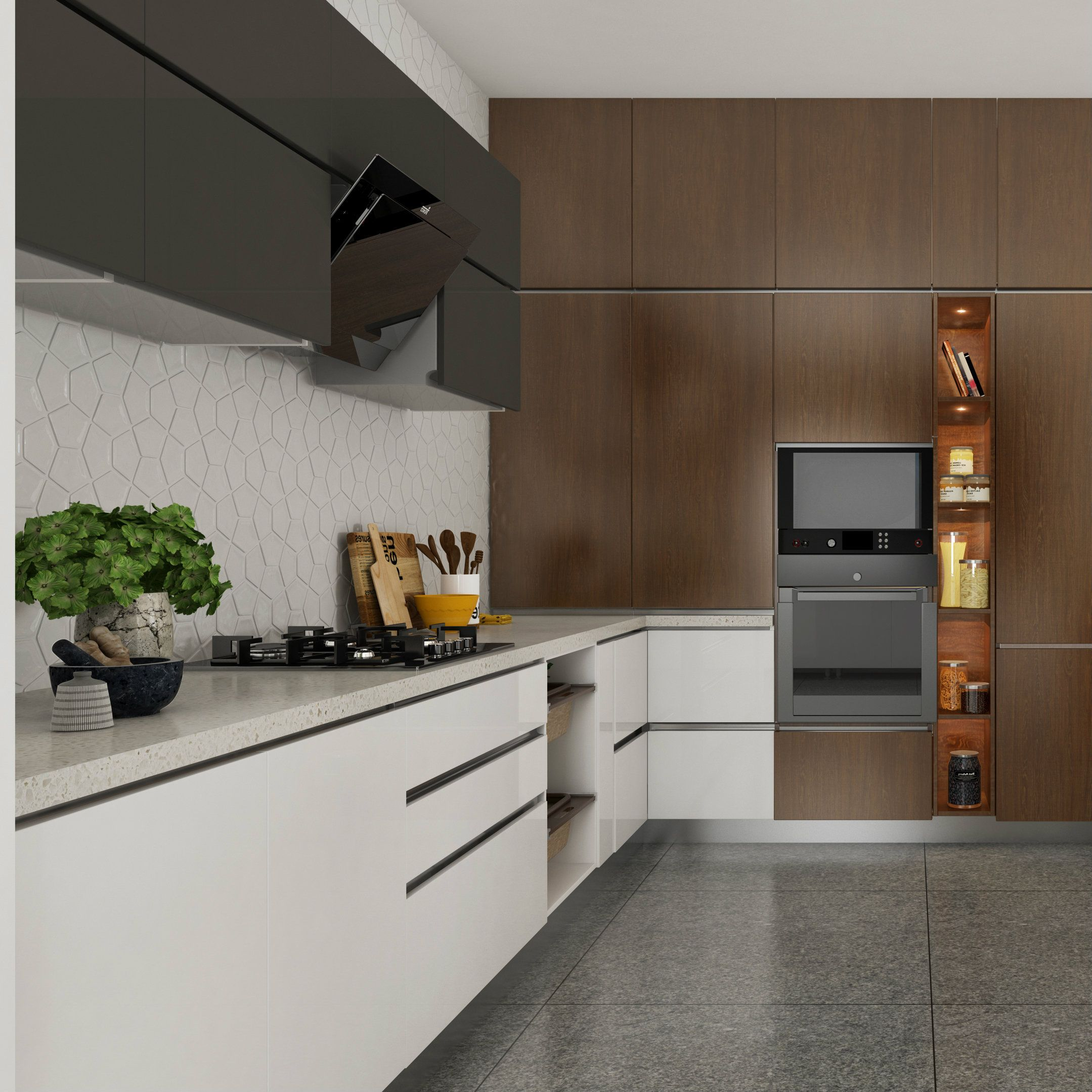 Black And White Modular Kitchen With A Wooden Accent Wall For Built In Appliances The Back Spl Accent Wall In Kitchen Interior Design Kitchen Kitchen Interior