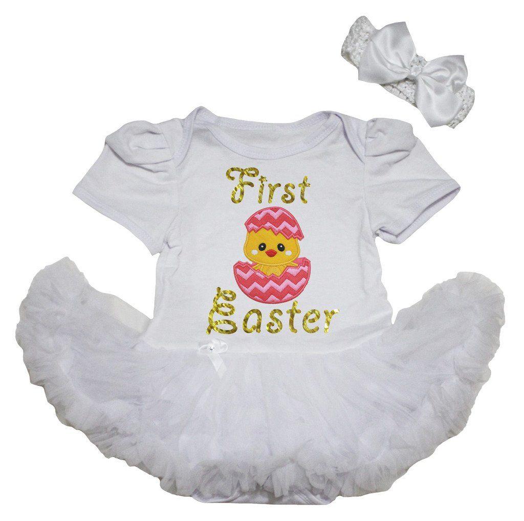 Yellow dress 3-6 months  Petitebella First Easter Chick Egg Bodysuit White Tutu Nbm