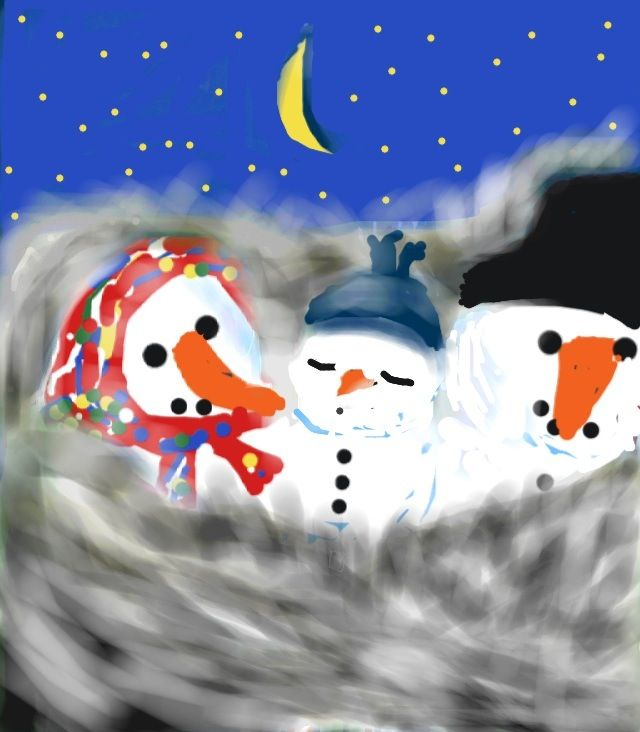 Colorized Sketch of Snowmen and Baby  by Birgitta S.  #Sketch #Illustration #Colorized #Snowmen