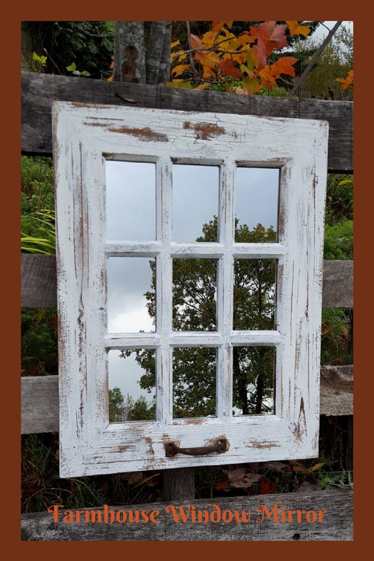 Farmhouse Window Mirror Shabby Chic Mirror Large Distressed White Wall Mirror Large Wall Mirror Rus Shabby Chic Mirror Window Pane Mirror Window Mirror