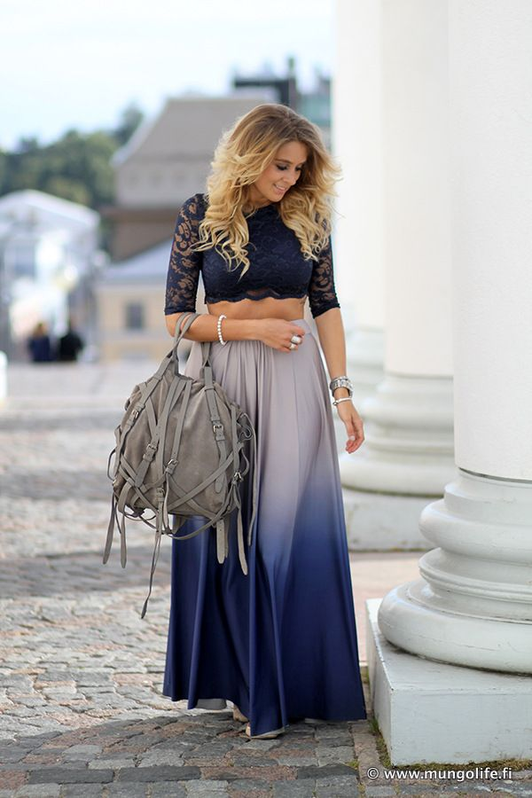 Maxi skirt and midriff lace top