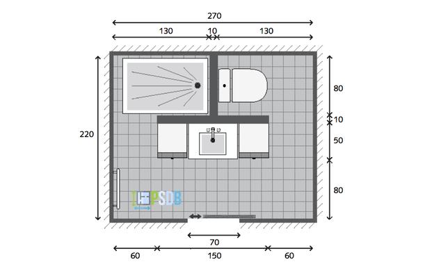 Plan Exemple Plan De Salle De Bain De 5 9m2 Kleines Bad Gestalten Badezimmer Badezimmer Grundriss