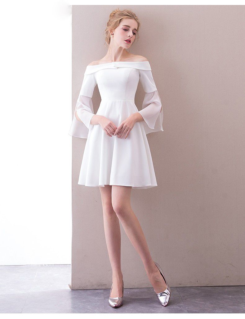 Ss47 Simple Boat Neck Short Wedding Dress Dresses Wedding Dress Fabrics Short Wedding Dress [ 1027 x 790 Pixel ]