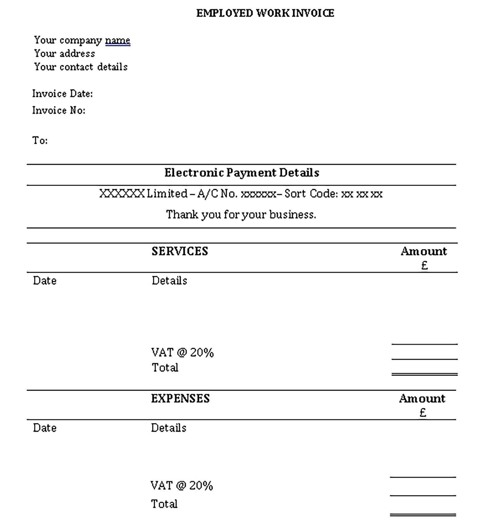 Self Employed Invoice Templates Printable Invoice Template Business Template Template Printable
