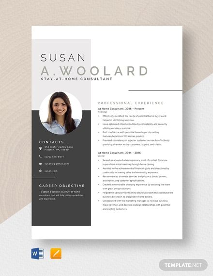 At Home Consultant Resume - Resume template, Resume, Downloadable resume template, Resume template free, Cv template, Templates - Instantly Download At Home Consultant Resume Template, Sample & Example in Microsoft Word (DOC), Apple Pages Format  Available in (US) 8 5x11, (A4) 8 27x11 69 inches  Quickly Customize  Easily Editable & Printable