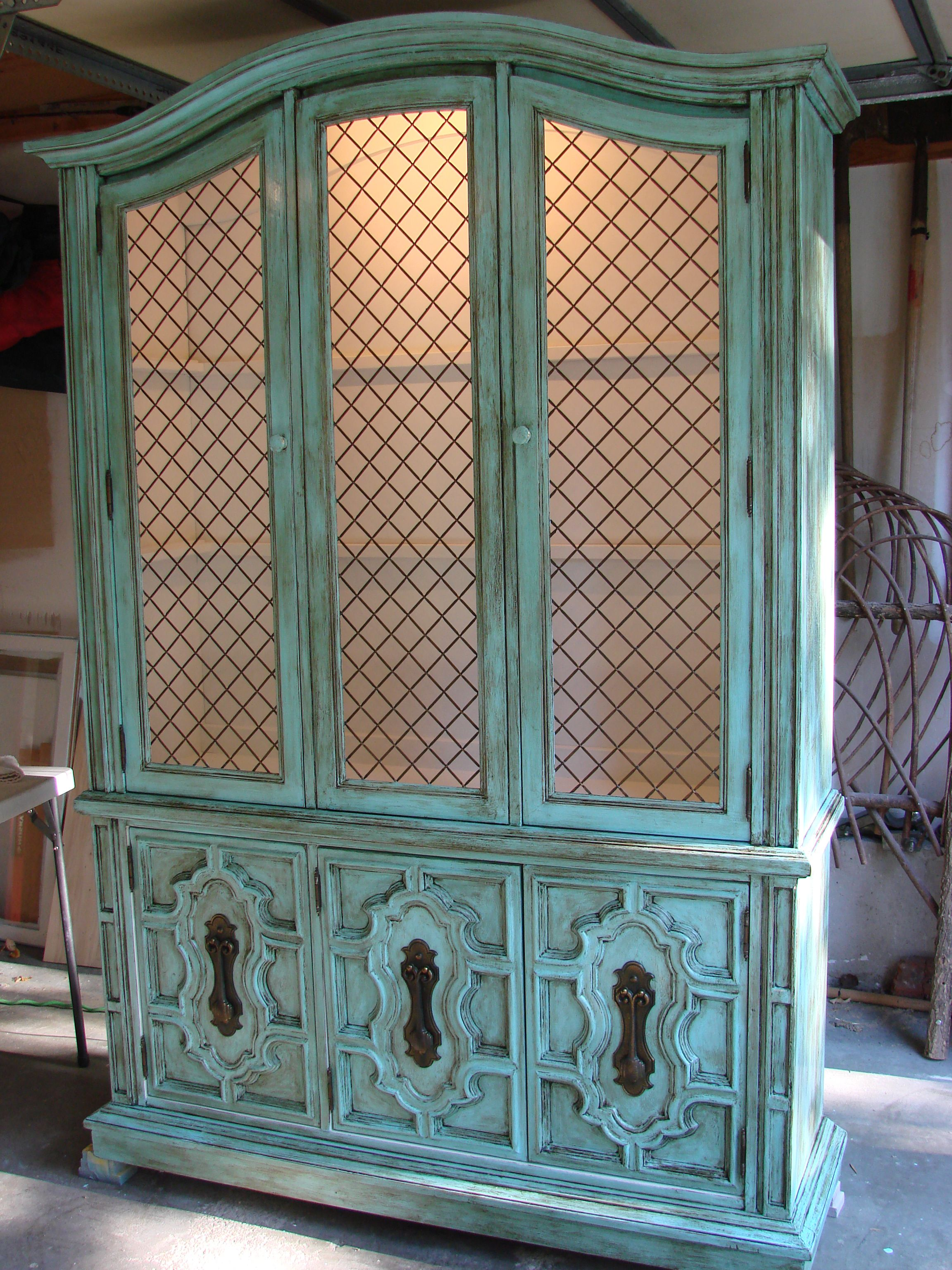 China Hutch Painted With Turquoise Chalk Paint Outside And