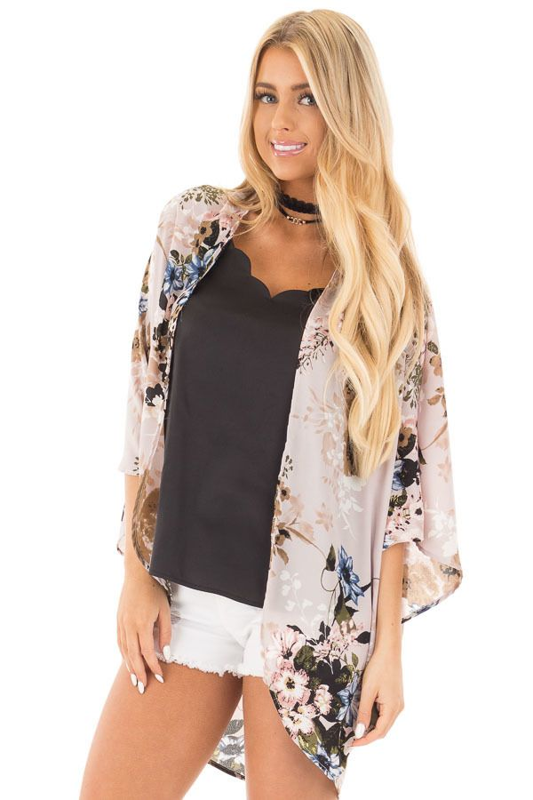5539ee3f673660 Lavender with Blue and Taupe Floral Print Kimono Cardigan ...