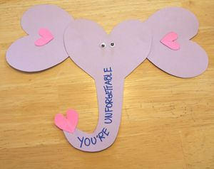 Elephant Valentine Craft For Kids. Use Our Printable Template And Make This  Simple Elephant Using Hearts For The Ears And Write A Cute Message On The  ...