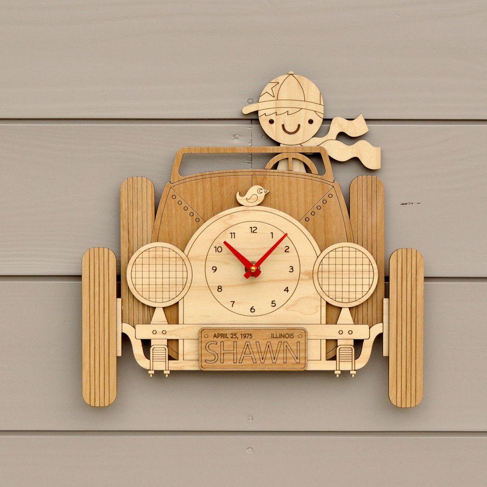 Car Wooden Wall Clock: Boy or Girl | CLOCKS | Pinterest | Wooden ...