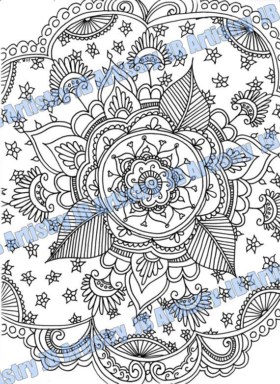 Coloring Page  Floral 1 by JBArtistryShop on Etsy