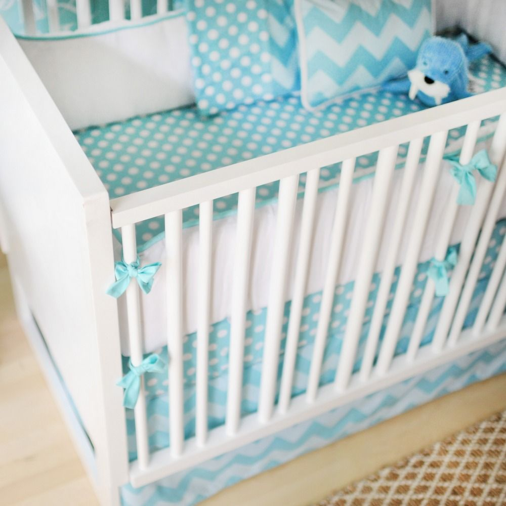 Zig Zag 3 Piece Crib Bedding Set In Aqua
