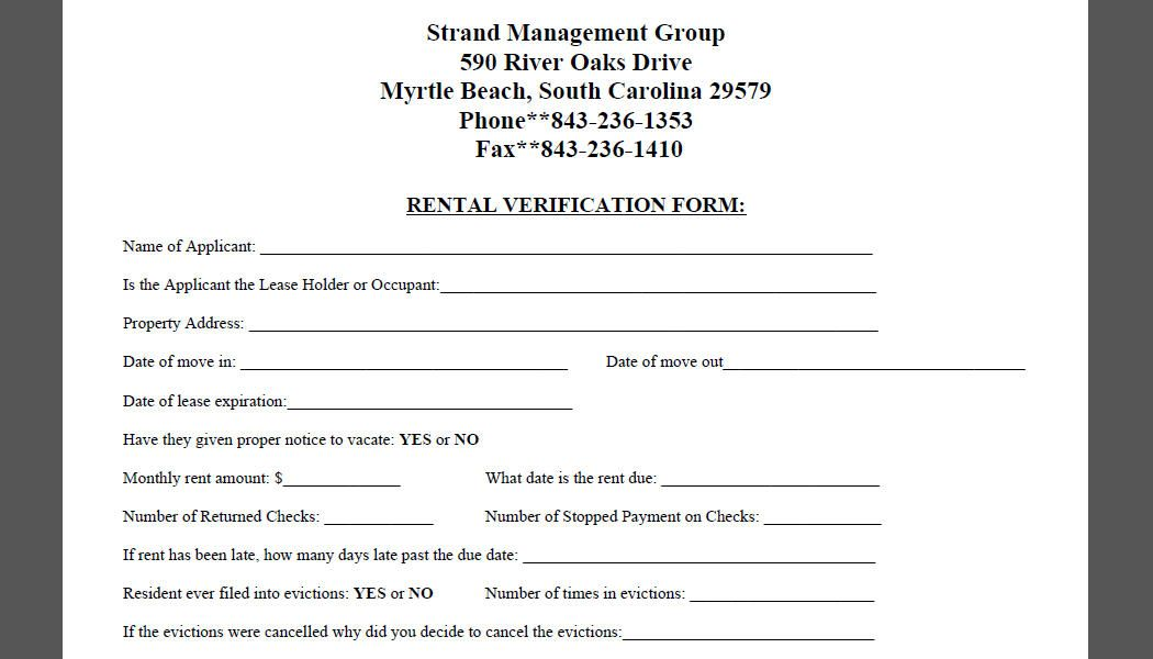 Printable Sample Rental Verification Form Form  Real Estate Forms