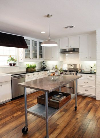 Reader Redesign Farmhouse Kitchen Young House Love Home Kitchens Stainless Steel Kitchen Island Wood Floor Kitchen
