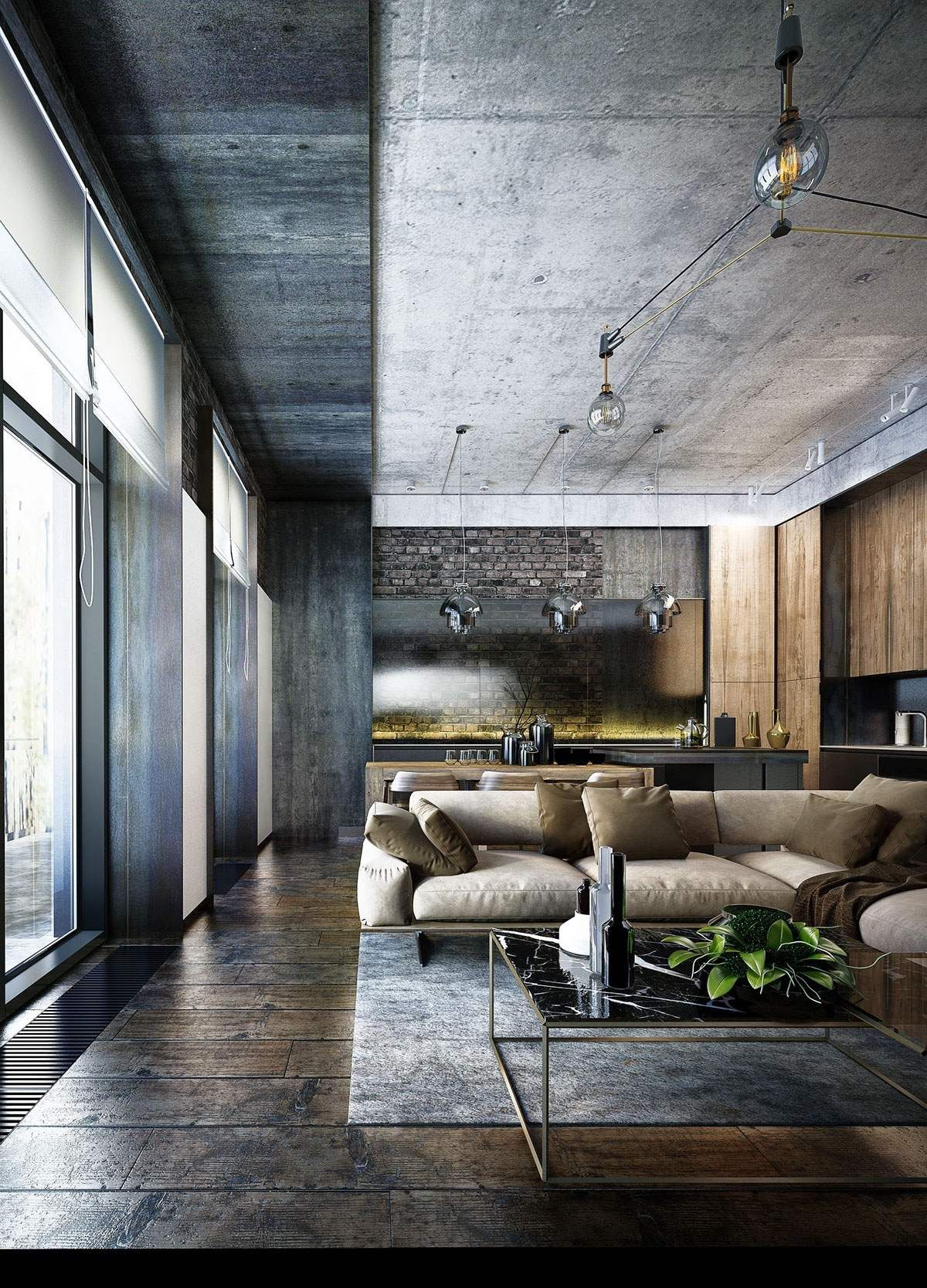 concrete flooring living room design Industrial Style