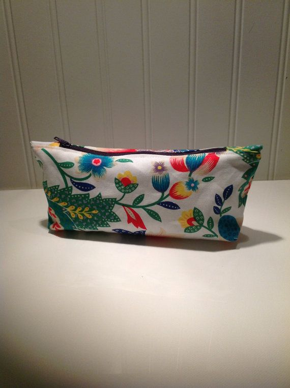 Modern Floral Makeup or Pencil bag by PhoebeMade on Etsy, $15.00