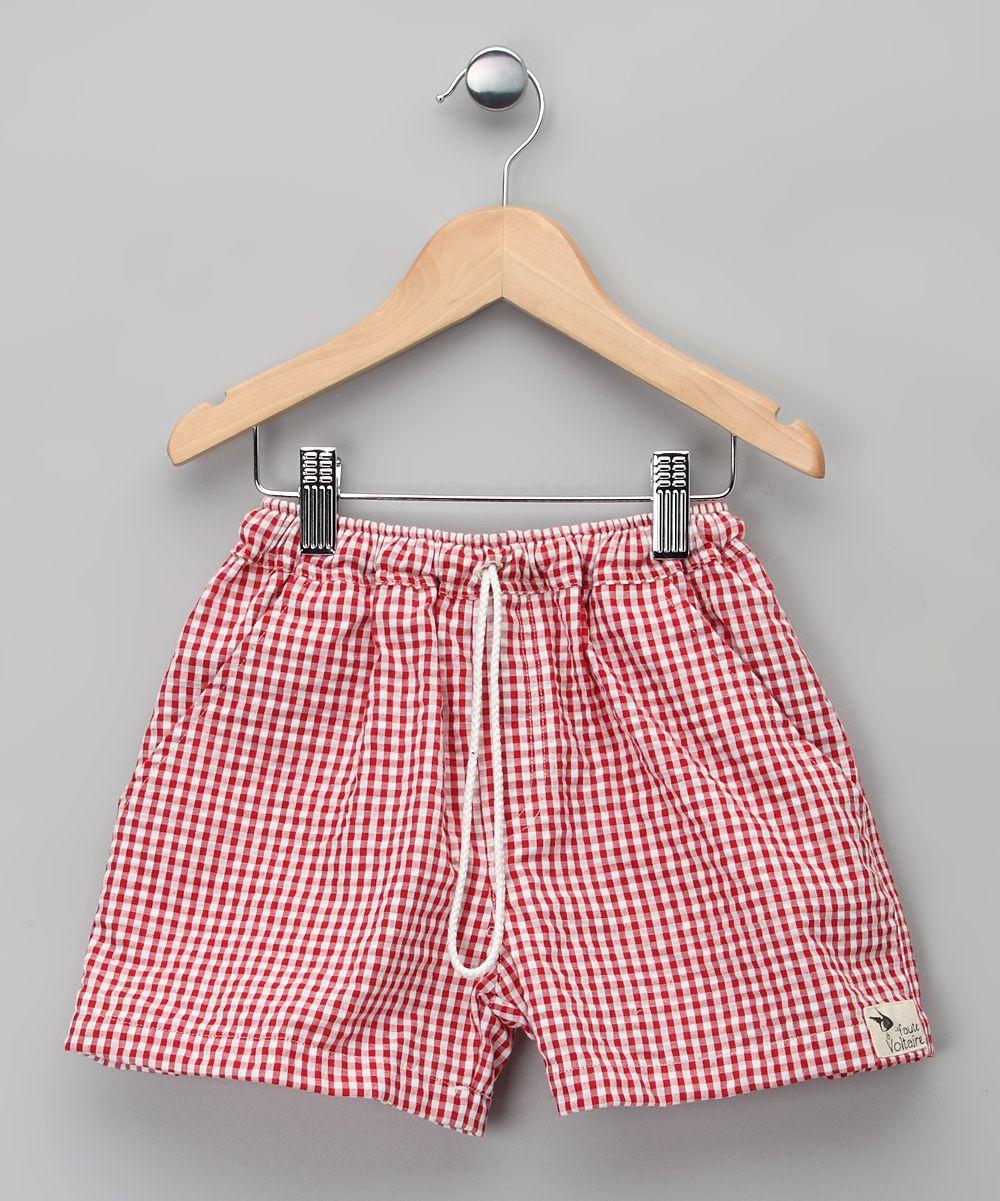 Red Gingham Swim Trunks #zulily | boyish things | Pinterest | Bebe